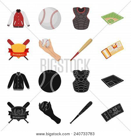 Club Emblem, Bat, Ball In Hand, Ticket To Match. Baseball Set Collection Icons In Black, Cartoon Sty