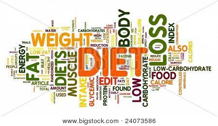 Diet and weight loss related words concept in tag cloud