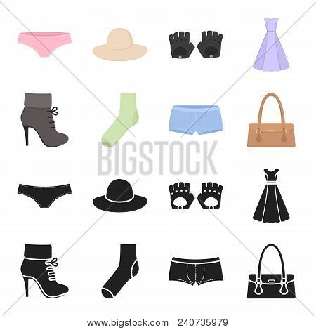 Women Boots, Socks, Shorts, Ladies Bag. Clothing Set Collection Icons In Black, Cartoon Style Vector