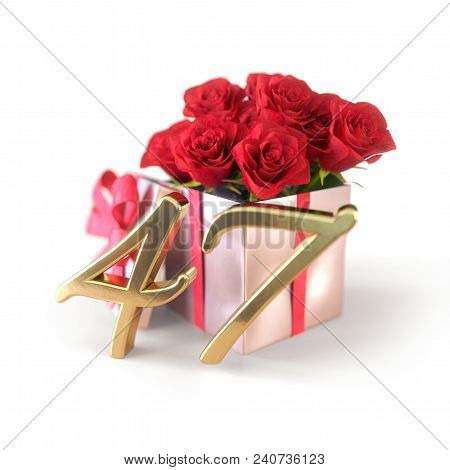 Birthday Concept With Red Roses In Gift Isolated On White Background. 3d Render - Forty-seventh Birt
