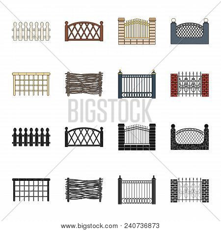 A Fence Of Metal And Bricks, Wooden Palisade. A Different Fence Set Collection Icons In Black, Carto