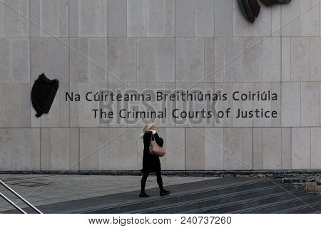 April 12th, 2018, Dublin Ireland - People Leaving The Criminal Courts Of Justice, The Principal Cour
