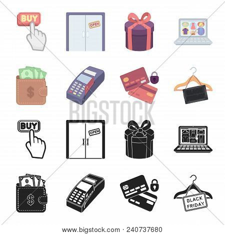 Purse, Money, Touch, Hanger And Other Equipment. E Commerce Set Collection Icons In Black, Cartoon S