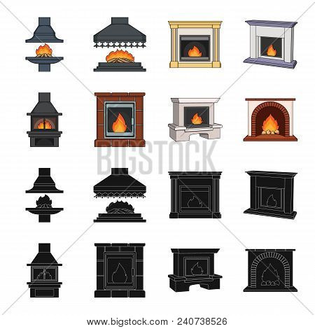 Fire, Warmth And Comfort. Fireplace Set Collection Icons In Black, Cartoon Style Vector Symbol Stock