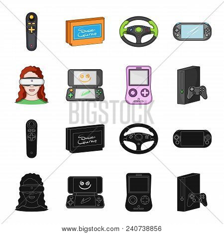 Game Console And Virtual Reality Black, Cartoon Icons In Set Collection For Design.game Gadgets Vect