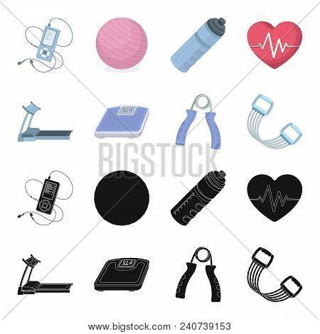 Treadmill, Scales, Expander And Other Equipment For Training.gym And Workout Set Collection Icons In