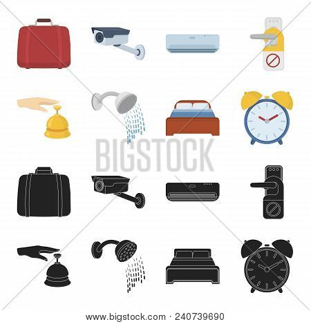 Call At The Reception, Alarm Clock, Bed, Shower.hotel Set Collection Icons In Black, Cartoon Style V