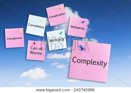 Complexity Concept - Notes Pinned To A Blue Sky, Complexity, Intricacy, Entanglement, Complication,