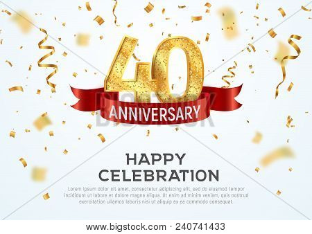 40 Years Anniversary Vector Banner Template. Fourty Year Jubilee With Red Ribbon And Confetti On Whi
