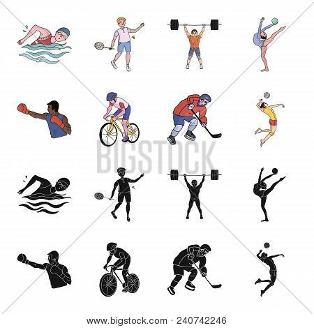Cycling, Boxing, Ice Hockey, Volleyball.olympic Sport Set Collection Icons In Black, Cartoon Style V