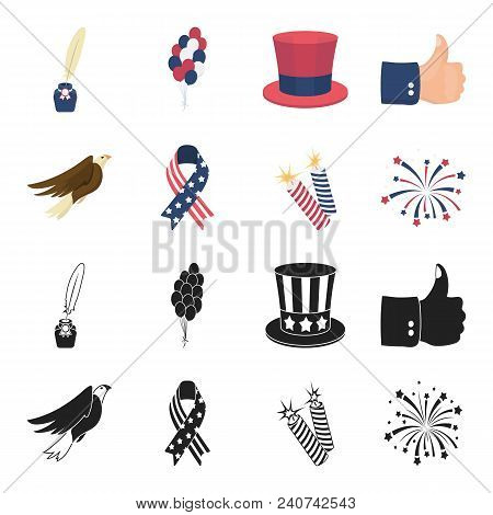 American Eagle, Ribbon, Salute. The Patriot Day Set Collection Icons In Black, Cartoon Style Vector