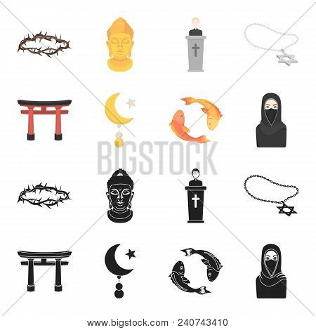 Torii, Carp Koi, Woman In Hijab, Star And Crescent. Religion Set Collection Icons In Black, Cartoon