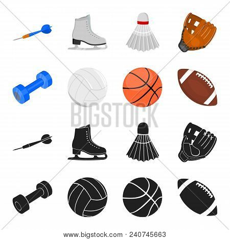 Blue Dumbbell, White Soccer Ball, Basketball, Rugby Ball. Sport Set Collection Icons In Black, Carto