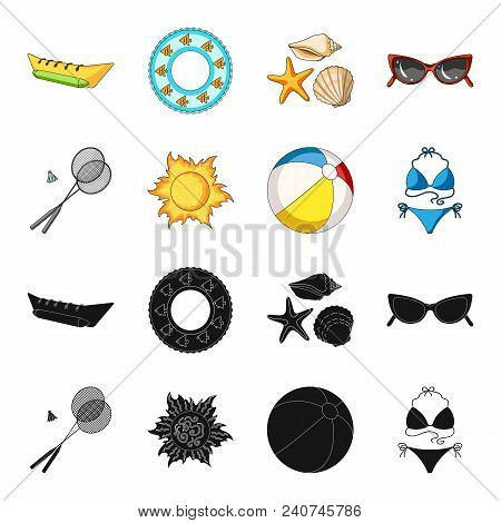 A Game Of Badminton, A Ball And The Sun.summer Vacation Set Collection Icons In Black, Cartoon Style