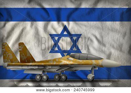 Fighter, Interceptor With Desert Camouflage On The Israel Flag Background. 3d Illustration