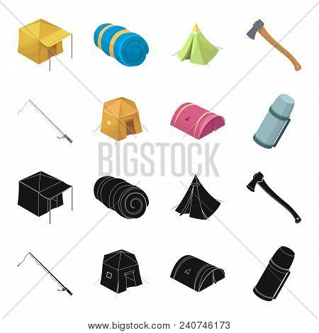 Spinning For Fishing, Tent, Thermos.tent Set Collection Icons In Black, Cartoon Style Vector Symbol