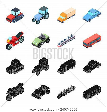 Motorcycle, Golf Cart, Train, Bus. Transport Set Collection Icons In Black, Cartoon Style Vector Sym