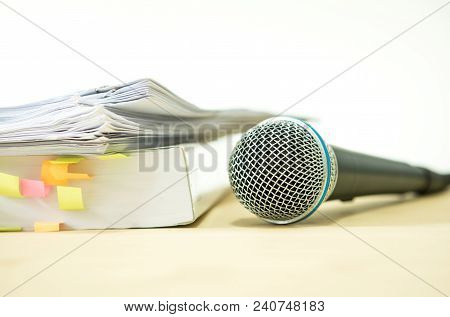 Close Up Microphone With Paper Document , Concept Of Speaker Or Teacher Preparation To Speak In Semi