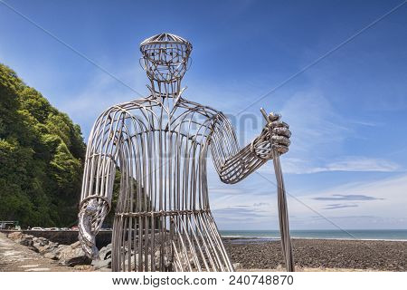 12 June 2017: Lynmouth, Devon, England Uk - The Walker By Richard Graham, New Sculpture Unveiled In