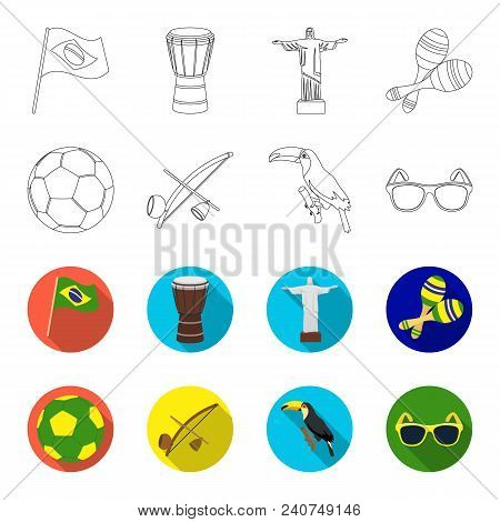 Brazil, Country, Ball, Football . Brazil Country Set Collection Icons In Outline, Flat Style Vector