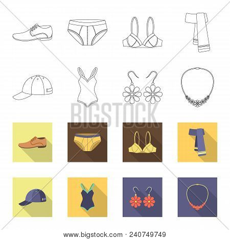 Cap, Earrings, Necklace, Swimsuit. Clothing Set Collection Icons In Outline, Flat Style Vector Symbo