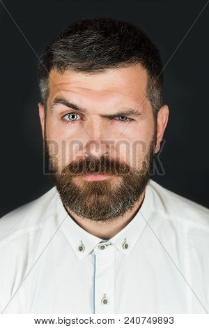 Man Portrait. Health, Beauty And People Concept - Portrait Of Serious Caucasian Man With Beard And M