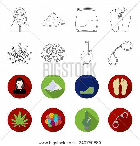 Hemp Leaf, Ecstasy Pill, Handcuffs, Bong.drug Set Collection Icons In Outline, Flat Style Vector Sym