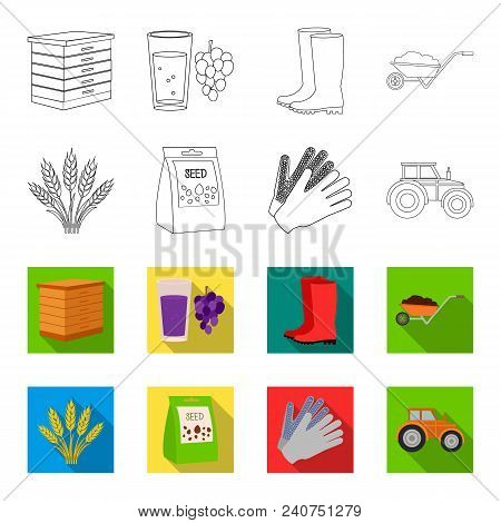 Spikelets Of Wheat, A Packet Of Seeds, A Tractor, Gloves.farm Set Collection Icons In Outline, Flat