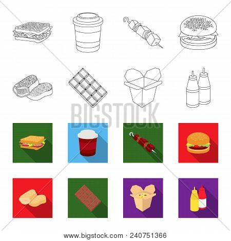 Chocolate, Noodles, Nuggets, Sauce.fast Food Set Collection Icons In Outline, Flat Style Vector Symb