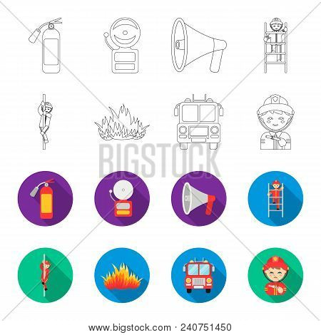 Fireman, Flame, Fire Truck. Fire Departmentset Set Collection Icons In Outline, Flat Style Vector Sy