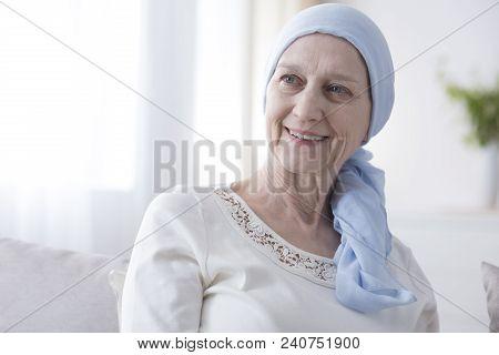 Happy Woman In Cancer Headscarf