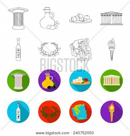 Greece, Country, Tradition, Landmark .greece Set Collection Icons In Outline, Flat Style Vector Symb