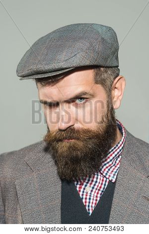 Vintage Fashion - Man In Suit, Shirt, Waistcoat, Cap. Fashionable Bearded Man. Elegant Fashion Man W