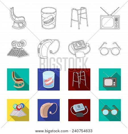 Lottery, Hearing Aid, Tonometer, Glasses.old Age Set Collection Icons In Outline, Flat Style Vector