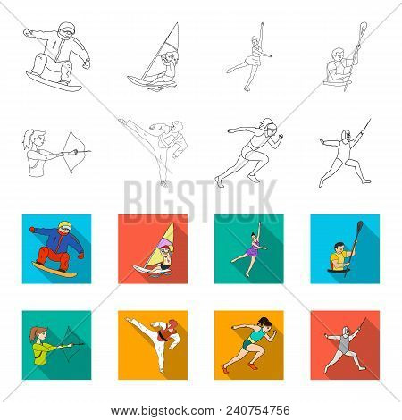 Archery, Karate, Running, Fencing. Olympic Sport Set Collection Icons In Outline, Flat Style Vector