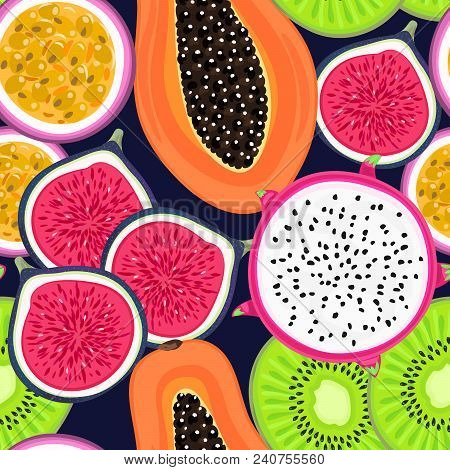Vector Seamless Pattern With Tropical Fruits. Healthy Dessert. Fruity Background. Dragon Fruit, Kiwi