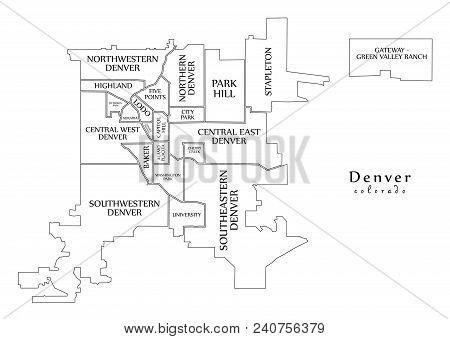 Modern City Map - Denver Colorado City Of The Usa With Neighborhoods And Titles