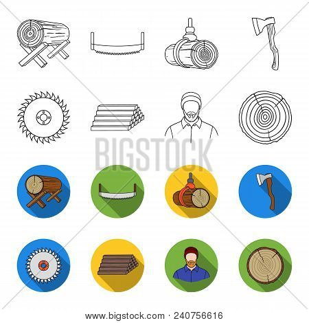 Circular Saw, A Working Carpenter, A Stack Of Logs. A Sawmill And Timber Set Collection Icons In Out