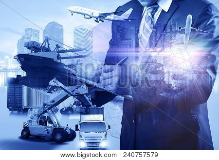 Double Exposure Business Logistics Concept, Map Global Partner Connection Of Container Cargo Freight