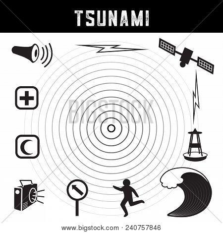 Tsunami Icons And Symbols: Earthquake Epicenter, Satellite And Transmission, Tsunami Detection Buoy,