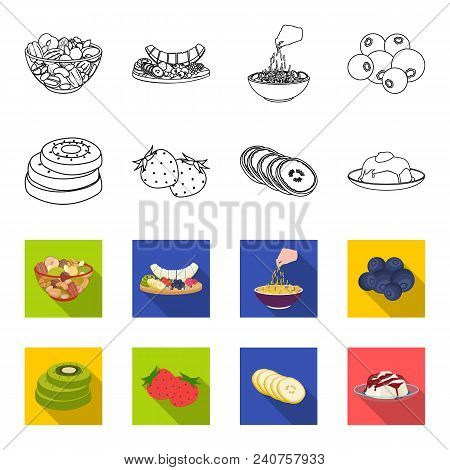 Fruits And Other Food. Food Set Collection Icons In Outline, Flat Style Vector Symbol Stock Illustra