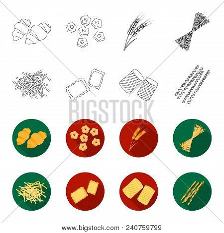 Different Types Of Pasta. Types Of Pasta Set Collection Icons In Outline, Flat Style Vector Symbol S
