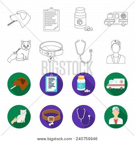 Collar, Bone, Cat, Haircut .vet Clinic Set Collection Icons In Outline, Flat Style Vector Symbol Sto