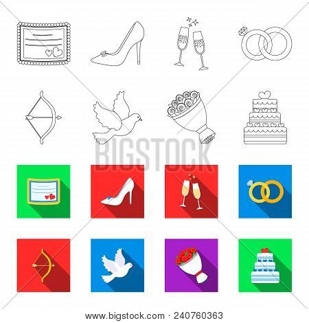 Arrow Cupid, Dove, Bouquet Of Flowers, Wedding Cake. Weddin Gset Collection Icons In Outline, Flat S