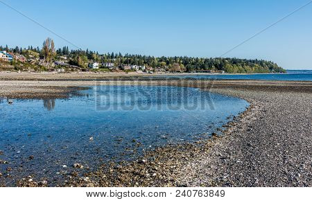 A View Of A Tide Pool And The Shoreline At Normandy Park, Washington.