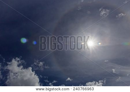 Circular Halo Around The Sun. Halos Are Atmospheric Phenomena Created By Light Which Is Reflected Or