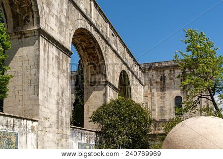View Of The Mae De Agua Roman Water Aqueduct  In Lisbon.