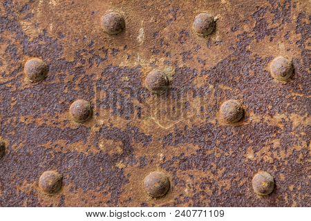 Rusty Metal From Metal Rivets, Beautiful Metal Texture, Metallic Background