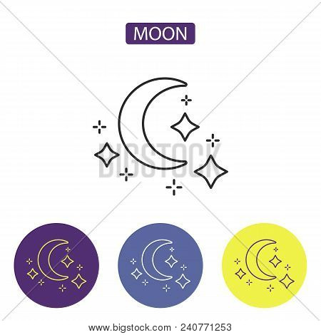 Moon Line Icon Logo Element In Black Color Editable Stroke. Symbol Of Night And Time For Sleeping Wi