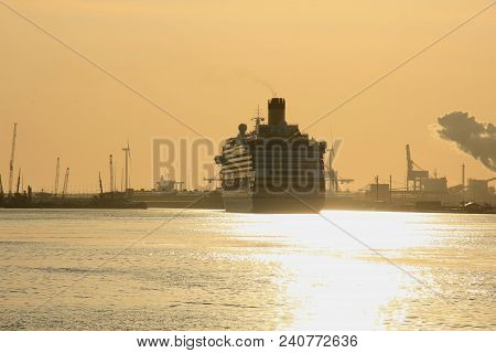 Velsen, The Netherlands - May, 15th 2018: Costa Favolosa On A Sunset North Sea Channel Towards North